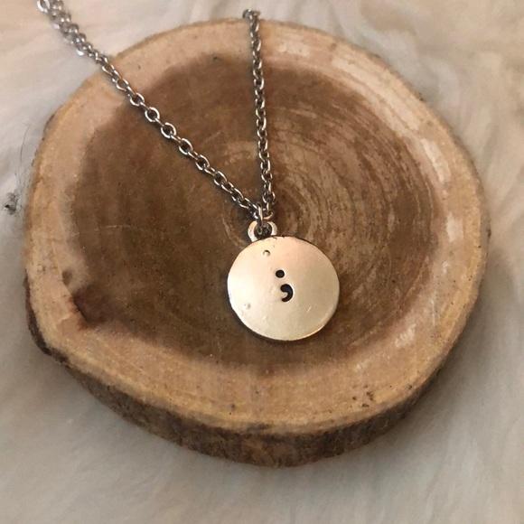 Jewelry - Semi-Colon ; Mental Health Awareness Necklace